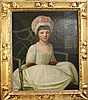 English School Portrait of a young lady from the Courtenay Family, 29 x 24in.