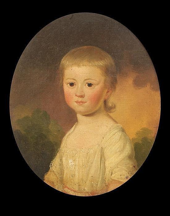 English School c.1800 Portraits of children ovals, 12.5 x 10.5in.