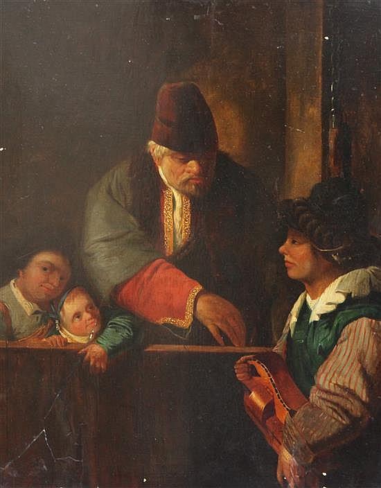 Attributed to Dirck Van Baburen (1570-1624) Hurdy gurdy player entertaining a merchant 18 x 14.5in.