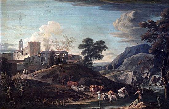 Attributed to Marco Ricci (Belluno 1676 - 1730 Venice), gouache, extensive Italianate landscape