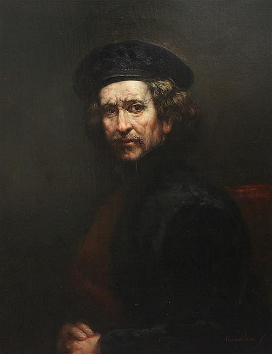 After Rembrandt Van Rijn Self portrait as a young man 24 x 20in.