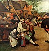 After Jan Van Brueghel Piper outside a tavern 14 x 14.75in.