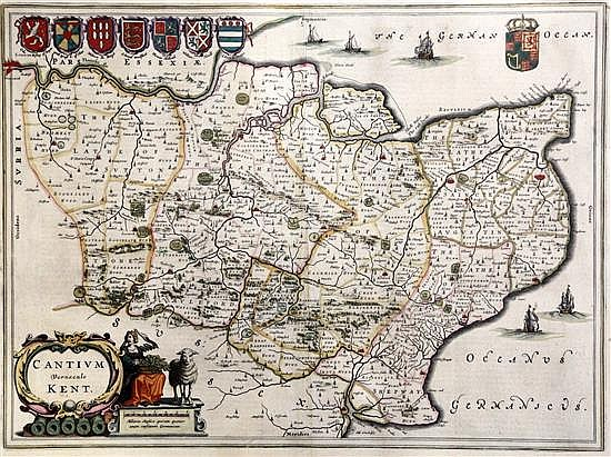 Jan Jansson Map of Cantium Vernacule Kent 15.5 x 21in.