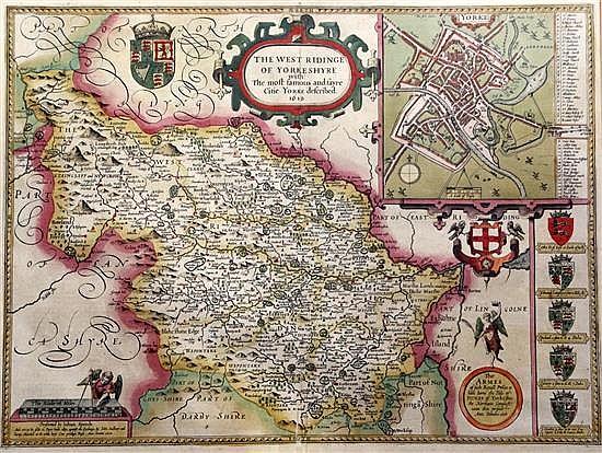 John Speede Map of the West Ridinge of Yorkeshyre, 1610 15.5 x 20.75in.