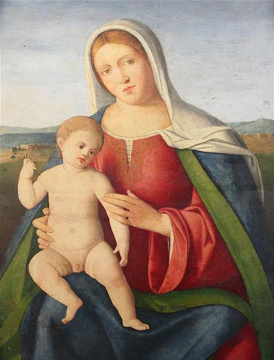 Circle of Francia (Francesco di Marco Raibolini) (1450-1517) Madonna and Child with a landscape beyond 27.5 x 18.5in.
