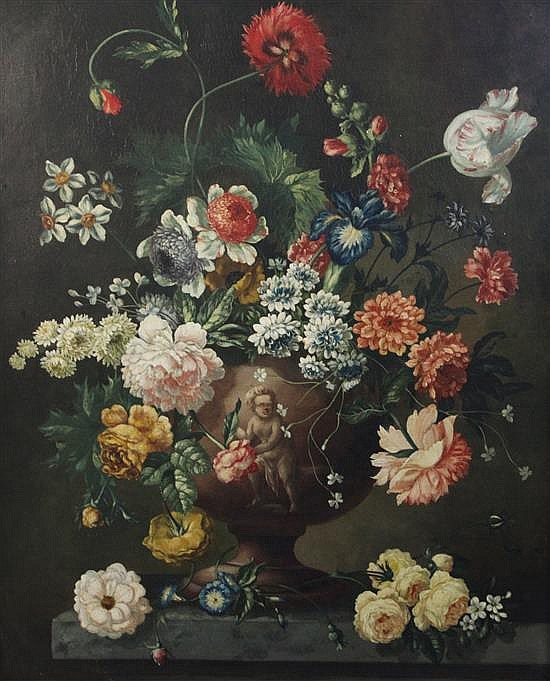 Follower of Peter Casteels Still life of flowers in an urn upon a ledge 32 x 25.5in.
