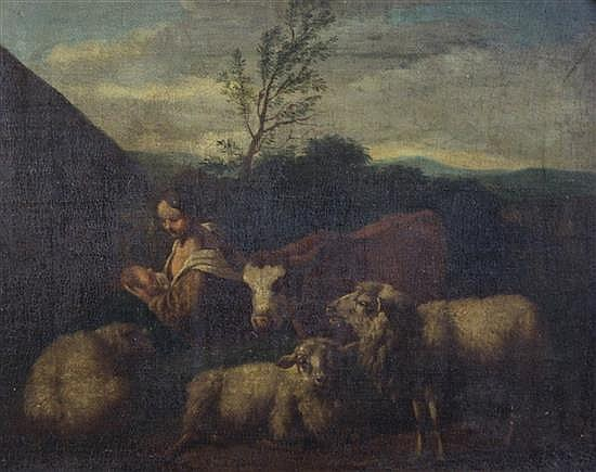 Follower of Jacob Van Der Dos (1623-1673) Virgin and child with a calf and sheep 8.5 x 10.5in.