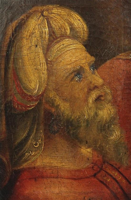 18th century English School Fragment with head study of a man wearing a turban, probably one of the Wise Men 11 x 7.5in.