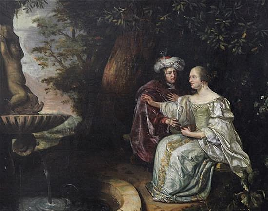Attributed to Matthijs Naiveu (1647-1721) 'Vertumnus and Pomona' 15.5 x 20in.