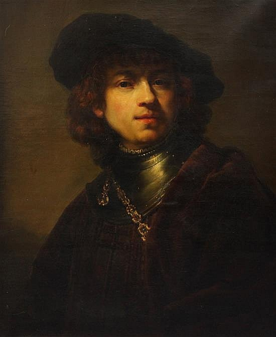 After Rembrandt van Rijn Self portrait as a young man 24 x 20.5in., Florentine framed