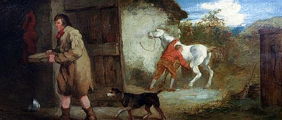 George Morland (1763-1804) Figures beside a stables 10 x 22.5in.