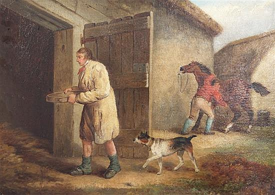 George Morland (1763-1804) Figures beside a stable 14 x 20in.