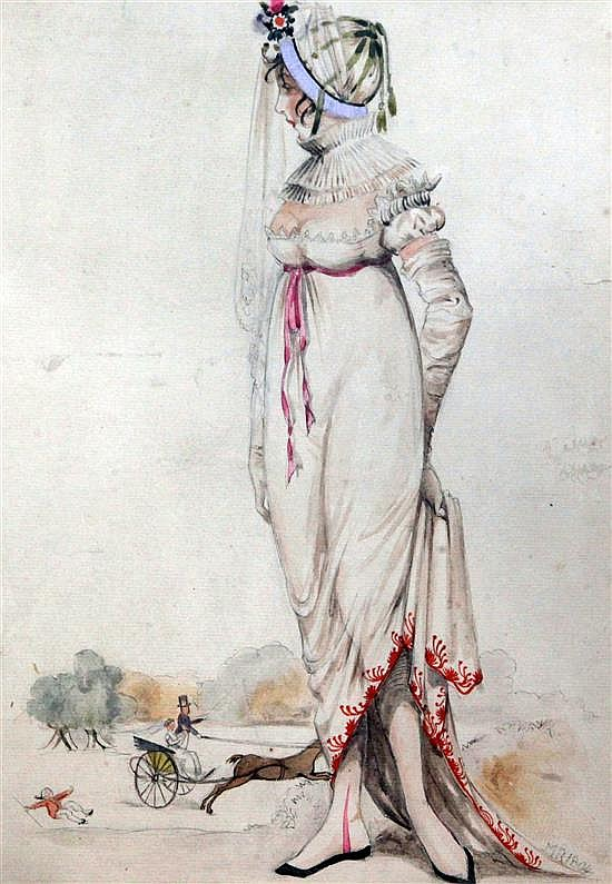 M.R. 1804 Portrait of a bride with amusing vignette in the background 13 x 9in.