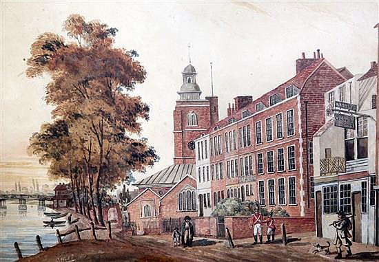S.H.... The Old Red House, Chelsea, c.1814 11 x 16in.