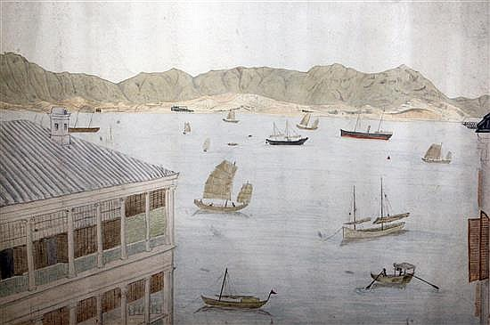 Early 19th century Hong Kong School View of Hong Kong harbour 11.75 x 18in.