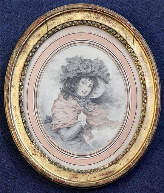 Attributed to Louis-Leopold Boilly (1761-1845) Portrait of a young lady oval, 7.5 x 6.5in.