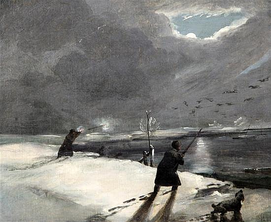 After Cornelius David Krieghoff (1812-1872) Shooting geese by moonlight 10 x 12in., unframed