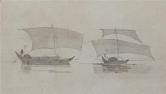 William Daniell (1769-1837) Study of dhows 4 x 6.25in.
