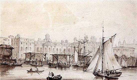 Samuel Owen (1768-1857) The Custom House from London Bridge 5.75 x 9.5in.