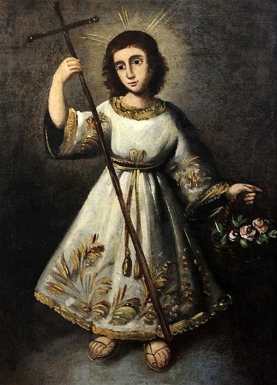 19th century Spanish School Christ as a child holding a cross and basket of flowers 30 x 22in.
