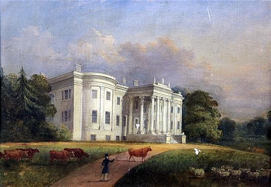 Early 19th century English School Portrait of a country house with livestock in the foreground 15.5 x 20.5in.