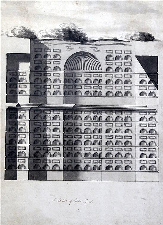 Early 19th century Italian School Architectural and archaeological studies of Livia's tomb 18 x 13in.
