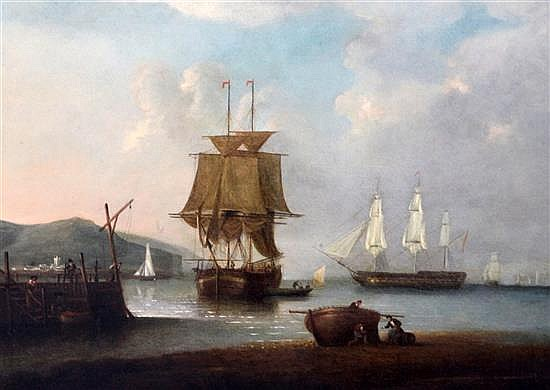 Attributede to William Anderson (1757-1837) Shipping in harbour 17 x 24in.