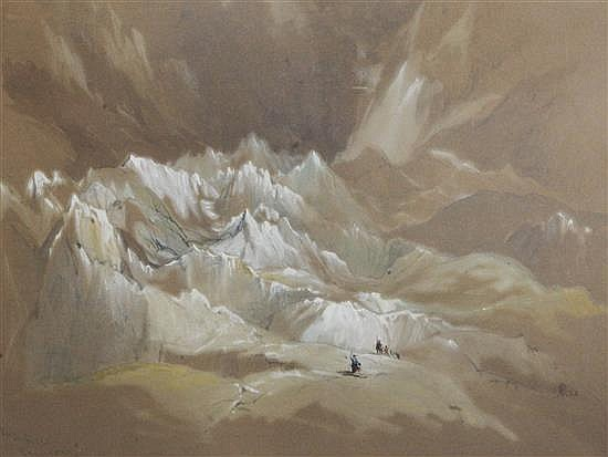 Attributed to Thomas Richardson Mer de glace, Chamouni 1837 10 x 14in.