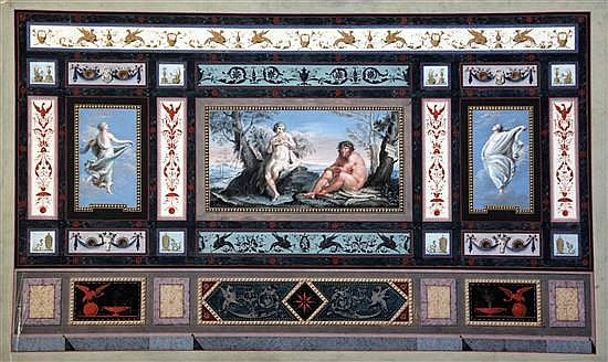 19th century Italian School Renaissance panel decorated with scene of Pan, two nymphs and geometric panels 13 x 21in.