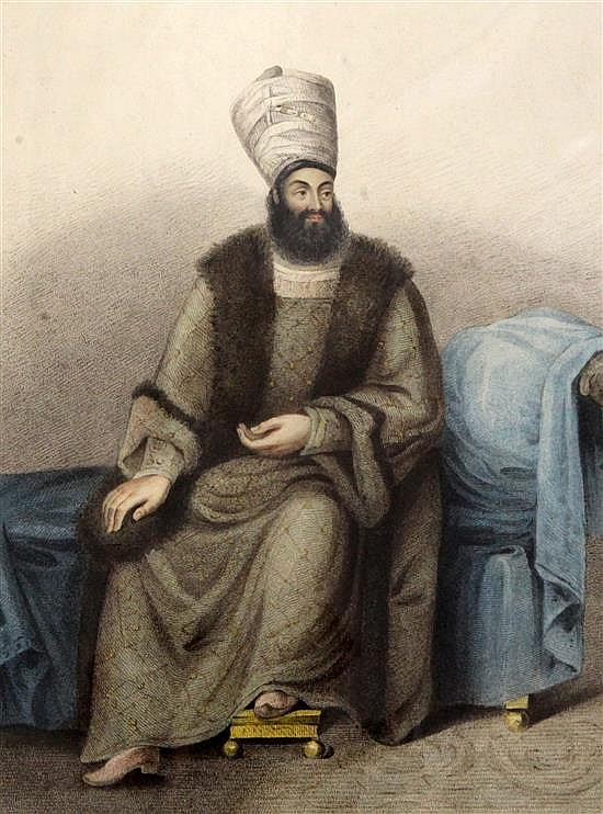 G.B. Bartolozzi after 'the Hon. Miss E' Portrait of Mirza Abul Hassan, Envoy from the King of Persia 1819 overall 22 x 16.5in., unframe
