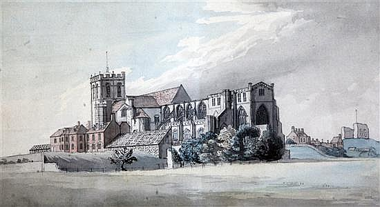 Thomas Smith (fl.1780-1822) Christchurch, Dorset 9 x 15in.