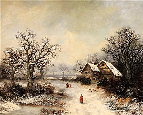 Samuel David Colkett (1806-1863) Figures in a winter landscape 23 x 29.5in.