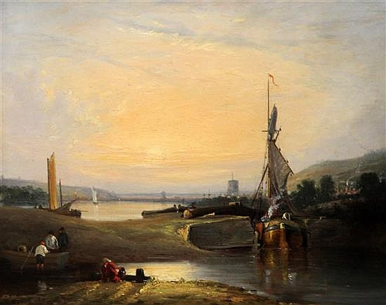 Attrib. to George Vincent (1796-1831), oil on panel, 'On the River Yare