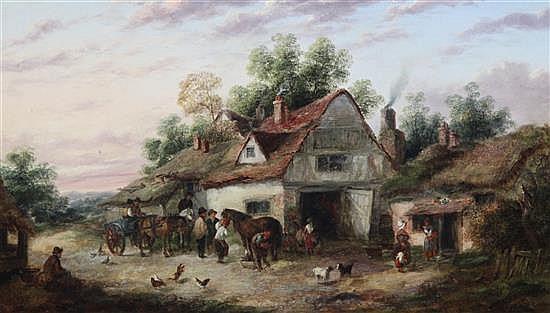 † Georgina Lara (fl. 1862-1871) Rustic figures outside a farmhouse 14 x 24in.