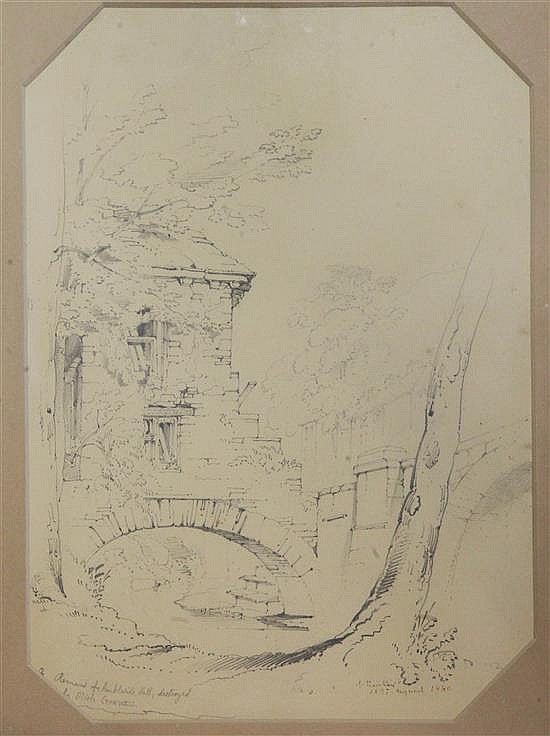 John Ruskin (1819-1900) The remains of Ambleside Hall, destroyed by Oliver Cromwell 14 x 10.25in.