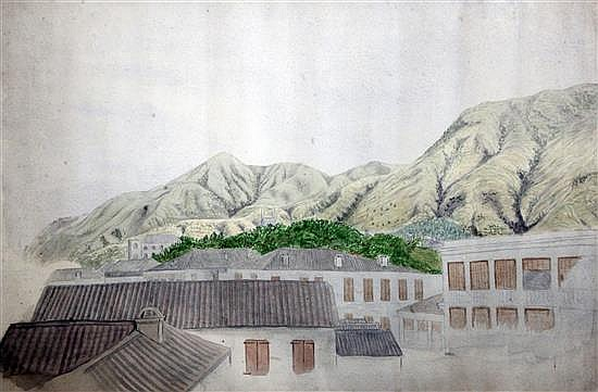 19th century Colonial School Roof top view of St Helena 12 x 18in.