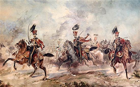 Richard Beavis (1824-1896) Cavalrymen preparing to charge 11.5 x 19in.