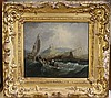 19th century English School Shipping off Whitby 7 x 7.5in.