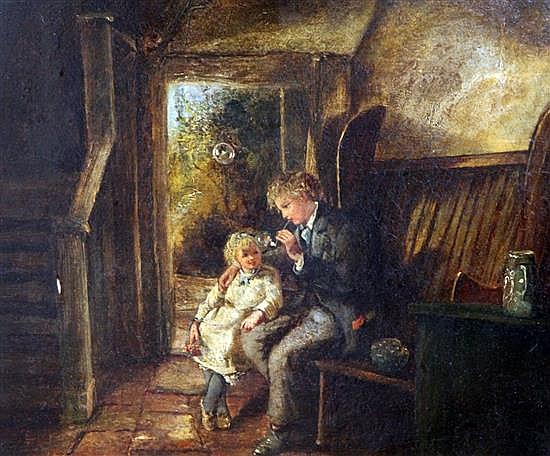 Victorian School Cottage interior with children blowing bubbles 10 x 12in.