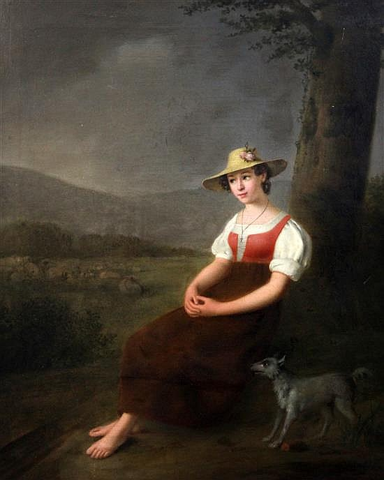 After J. F. Millet Shepherdess seated in a landscape 26 x 21.5in.