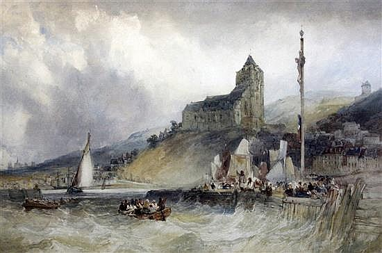 William Callow (1812-1908) Entrance to the port, Treport, Normandy 16 x 25in.
