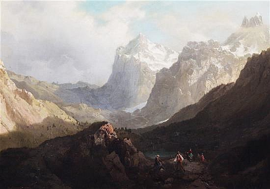 Arnold Jenny (Swiss, 1831-1881) Travellers in an alpine landscape 20 x 28in.