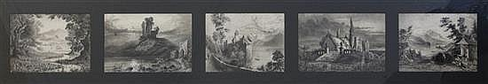 Captain John William Clayton (1833-1913) Lake Leman and other landscapes 5 x 6.5in., framed as one