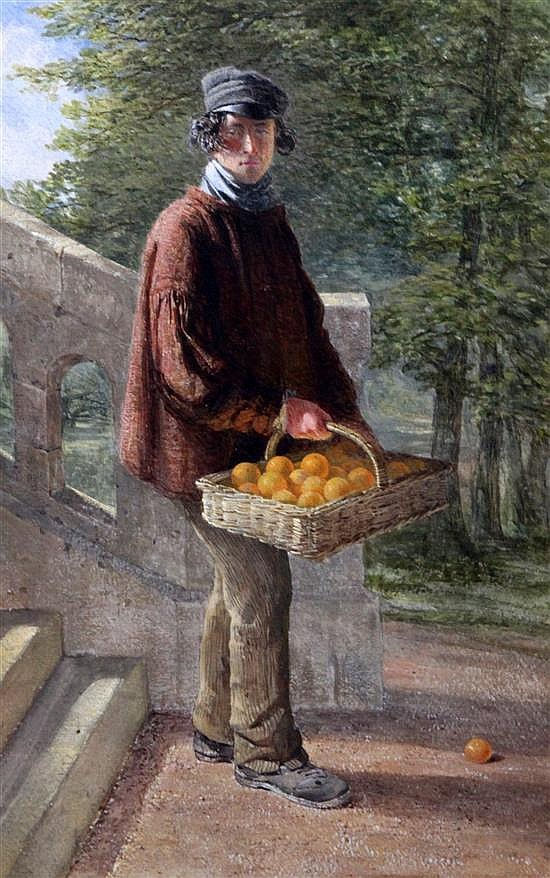 Attributed to William Henry Hunt Orange seller beside steps 16.5 x 10.5in., unframed