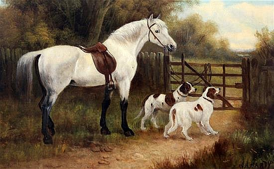 William Howard Hardy (19th C.) Studies of horses and gundogs 15 x 23in.