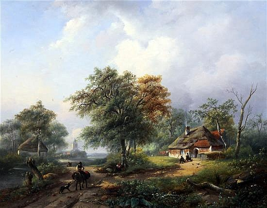 Johannes Petrus van Velzen (1816-1853) Figures and cottage in a river landscape 20.5 x 26in.