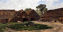 Gerrit Alexander G. Mollinger (1836-1867) Sketch of a farm 8.5 x 16in.