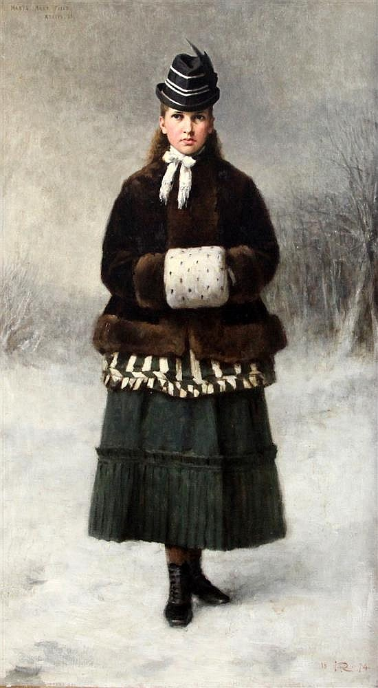 Sir George Reid P.R.S.A. (1841-1913) Portrait of Mabel Mary Field, Aged 13, standing in a winter landscape 33 x 18.5in.