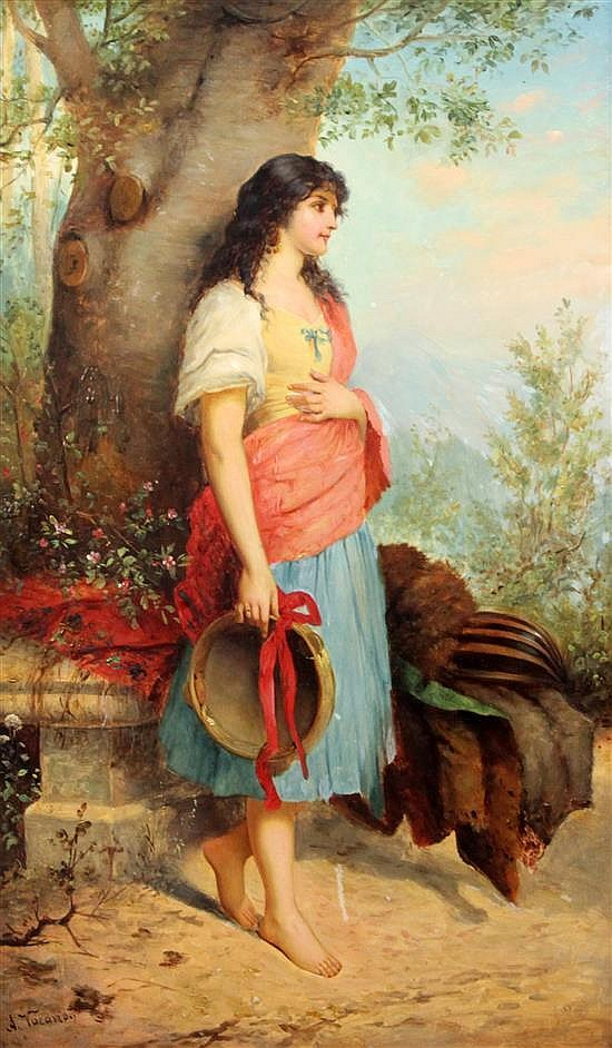 A. Vacano Girl holding a tambourine 22.5 x 14in.
