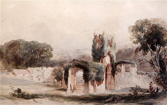William Richardson (fl.1842-77) Mount Grace Priory 11 x 18in.